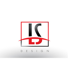 ls l s logo letters with red and black colors and vector image