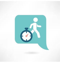 man running with a timer icon vector image