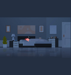 man sleeping in bed covered with quilt tired guy vector image