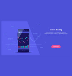 mobile trading banner online trading flat style vector image