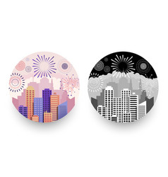 modern cityscapes and fireworks round badges vector image