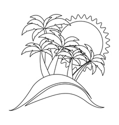 Monochrome contour with beach background vector
