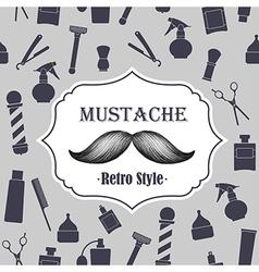 Mustache retro gray background vector image
