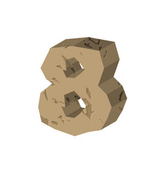 Number 8 stone rock font eight stones alphabet vector