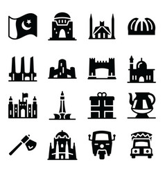 Pakistani culture icons in solid style pack vector