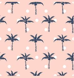 palm trees pink polka dot retro style seamless vector image