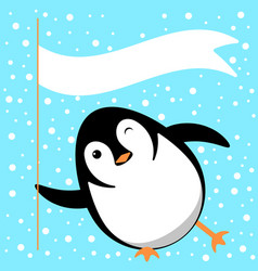 penguin slides on the ice winks holds a flag vector image
