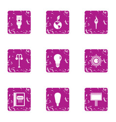 pure light energy icons set grunge style vector image