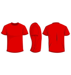 Red t-shirt template in front side and back views vector