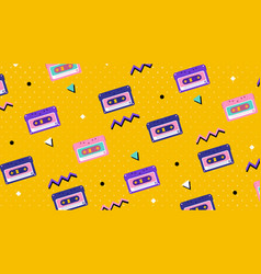 Repeat pattern retro tape cassettes on yellow vector