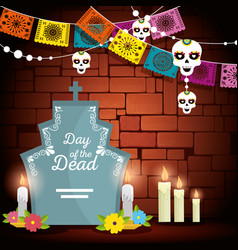 Rip with candles and party banner to day of the vector