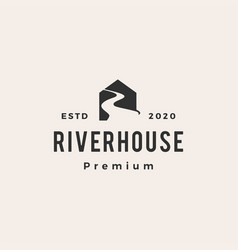 road river house hipster vintage logo icon vector image