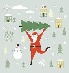 santa claus carry big christmas tree vector image