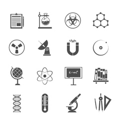 Science icons set black vector image