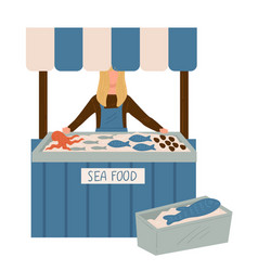 Sea food market seller with production on stall vector