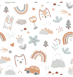 seamless pattern with cute animals faces vector image