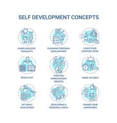 Self development turquoise concept icons set vector