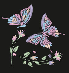 Set collection of butterflies and flowers isolated vector