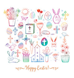 set colored easter doodles on white background vector image
