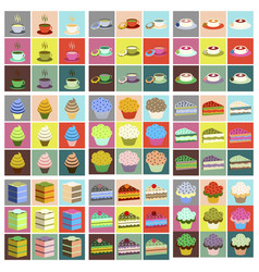 Set icons in flat design desserts vector