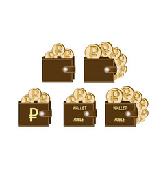 Set of brown wallets with ruble coins vector