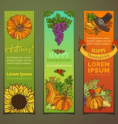 Set of colourful Thanksgiving vertical banners vector