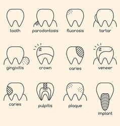 Set of minimalistic teeth with different diseases vector