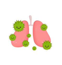 Sick unhealthy lungs with disease angry vector
