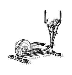 sketch hand drawn gym equipment machine elliptical vector image