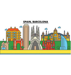 Spain barcelona city skyline architecture vector