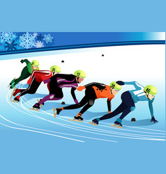 Speed skating athletes competing vector