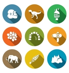 Stone age and dawn of the dinosaurs icons set vector