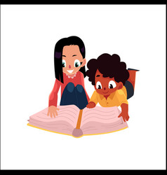 two kids girls reading a book lying on the floor vector image