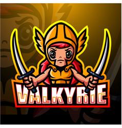 Valkyrie mascot esport logo design vector