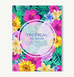 Vertical banner with tropical leaves and flowers vector