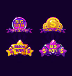 violet four gambling icons for lottery or casino vector image