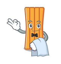 waiter air mattress mascot cartoon vector image