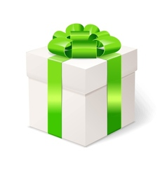 White gift box with bows and green ribbon vector