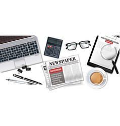 white office desk laptop coffee newspapers and vector image