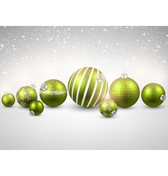 Winter background with green christmas balls vector