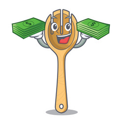 With money wooden fork mascot cartoon vector