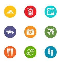 world of travel icons set flat style vector image
