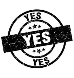 Yes round grunge black stamp vector