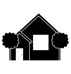 beautiful house building with trees vector image