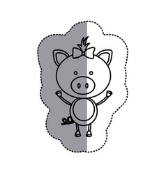 contour teddy pig bow head vector image