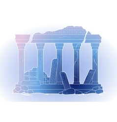 Graphic ruined ancient architecture vector image
