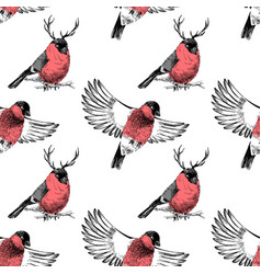 hand sketched pattern with bullfinches vector image vector image