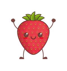 kawaii strawberry fruit image vector image