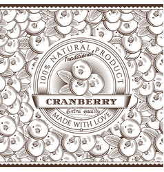vintage cranberry label on seamless pattern vector image vector image