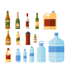 Different bottles and water containers vector